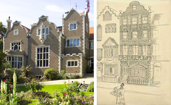 Olveston's lively profile made up of differently shaped gables is a feature of Jacobean revival architecture | Osbert Lancaster gently parodied the Olveston style as 'Pont St Dutch' in Pillar to Post (1938).